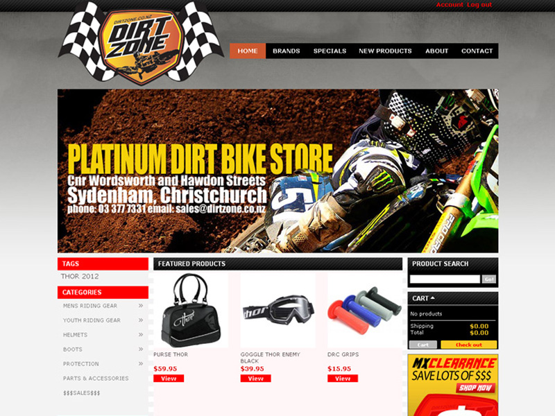 Motorcycle store in Christchurch [WEB DESIGN]