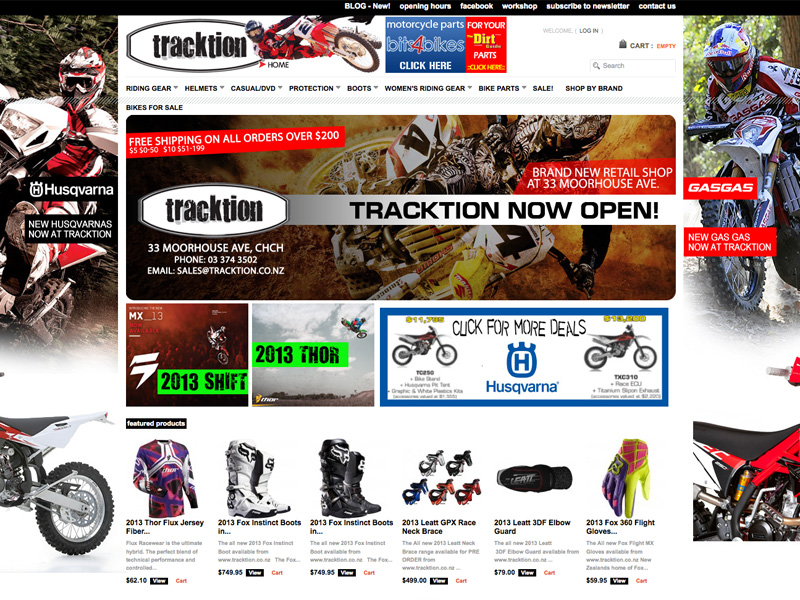 Online store for Tracktion Motorcycle Store